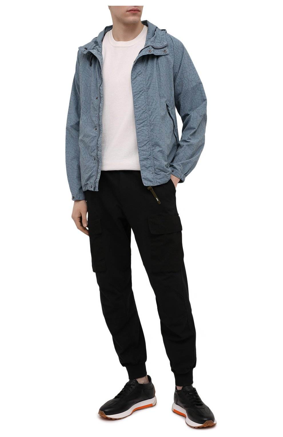 Мужские кожаные кроссовки SANTONI черного цвета, арт. MBNR21495BBMNRDAN01 | Фото 2 (Материал внутренний: Натуральная кожа; Стили: Классический; Подошва: Массивная)