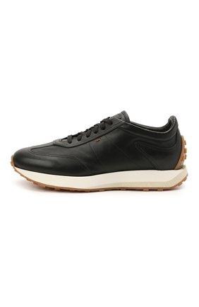 Мужские кожаные кроссовки SANTONI черного цвета, арт. MBNR21495BBMNRDAN01 | Фото 3 (Материал внутренний: Натуральная кожа; Стили: Классический; Подошва: Массивная)