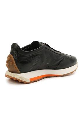 Мужские кожаные кроссовки SANTONI черного цвета, арт. MBNR21495BBMNRDAN01 | Фото 4 (Материал внутренний: Натуральная кожа; Стили: Классический; Подошва: Массивная)