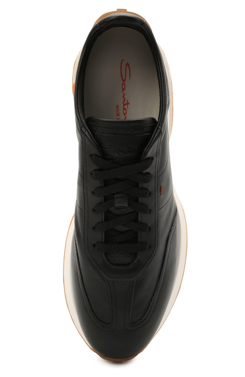 Мужские кожаные кроссовки SANTONI черного цвета, арт. MBNR21495BBMNRDAN01 | Фото 5 (Материал внутренний: Натуральная кожа; Стили: Классический; Подошва: Массивная)