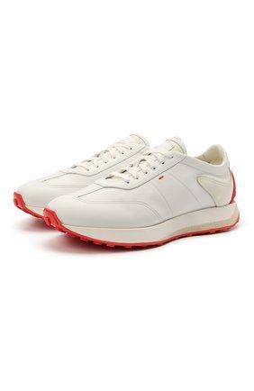 Мужские кожаные кроссовки SANTONI белого цвета, арт. MBNR21495BBACRDAI20 | Фото 1 (Подошва: Массивная; Стили: Классический; Материал внутренний: Натуральная кожа)