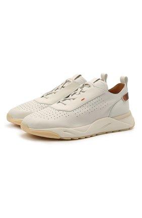 Мужские кожаные кроссовки SANTONI белого цвета, арт. MBIM21499BTTLDPAI50 | Фото 1 (Стили: Классический; Материал внутренний: Натуральная кожа; Подошва: Массивная)