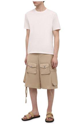 Мужские кожаные шлепанцы BOTTEGA VENETA бежевого цвета, арт. 651420/VBSL0   Фото 2
