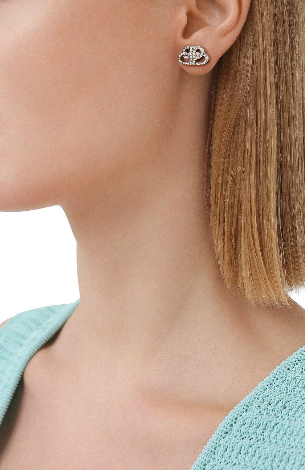 Женские серьги BALENCIAGA серебряного цвета, арт. 624203/TZ05S   Фото 2
