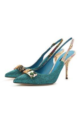Женские текстильные туфли cardinale DOLCE & GABBANA разноцветного цвета, арт. CG0487/A0652 | Фото 1 (Каблук высота: Высокий; Материал внутренний: Натуральная кожа; Материал внешний: Текстиль; Каблук тип: Шпилька; Подошва: Плоская)