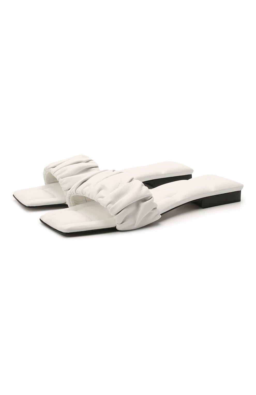 Женские кожаные шлепанцы crete KHAITE белого цвета, арт. F4025-723/CRETE   Фото 1