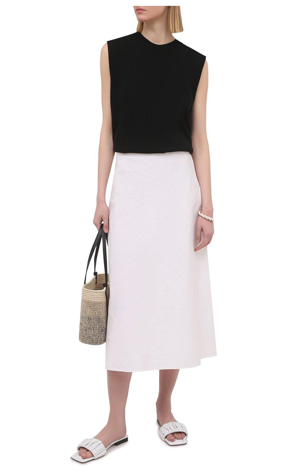 Женские кожаные шлепанцы crete KHAITE белого цвета, арт. F4025-723/CRETE   Фото 2