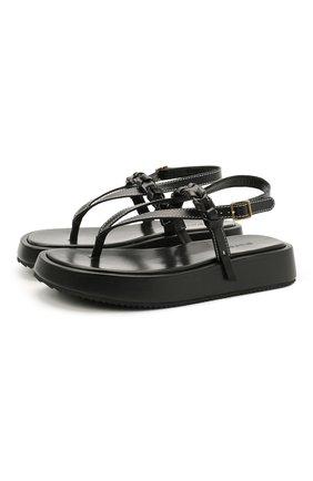 Женские кожаные сандалии  JW ANDERSON черного цвета, арт. ANW36008A/12140 | Фото 1