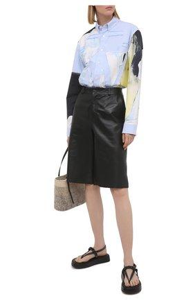 Женские кожаные сандалии  JW ANDERSON черного цвета, арт. ANW36008A/12140   Фото 2