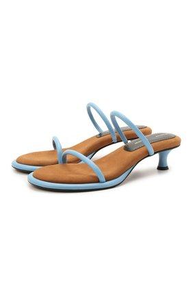 Женские кожаные мюли PROENZA SCHOULER голубого цвета, арт. PS36113A/13111 | Фото 1 (Каблук тип: Устойчивый; Подошва: Платформа; Материал внутренний: Натуральная кожа; Каблук высота: Низкий)