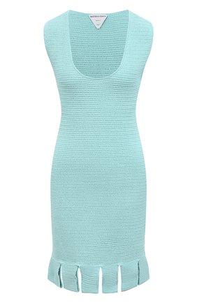 Женское хлопковое платье BOTTEGA VENETA голубого цвета, арт. 656578/V0S90 | Фото 1