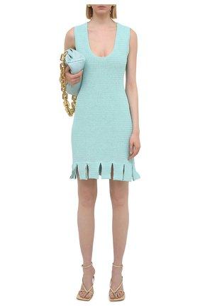 Женское хлопковое платье BOTTEGA VENETA голубого цвета, арт. 656578/V0S90 | Фото 2