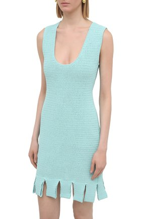 Женское хлопковое платье BOTTEGA VENETA голубого цвета, арт. 656578/V0S90 | Фото 3