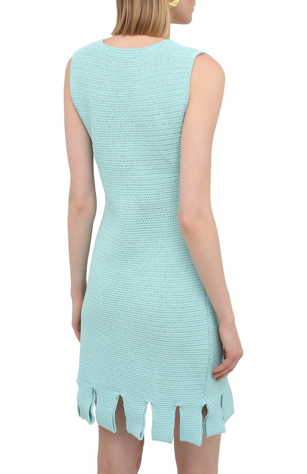 Женское хлопковое платье BOTTEGA VENETA голубого цвета, арт. 656578/V0S90 | Фото 4