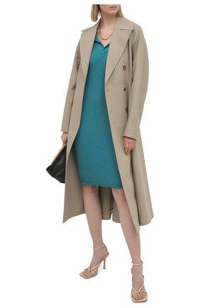 Женское шерстяное платье BOTTEGA VENETA бирюзового цвета, арт. 656278/V0QZ0 | Фото 2