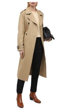 Женские кожаные ботильоны goldee CHLOÉ коричневого цвета, арт. CHC21S40042   Фото 2