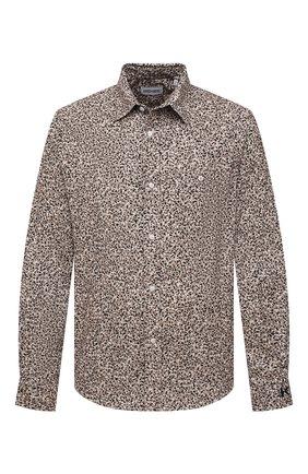 Мужская хлопковая рубашка KENZO бежевого цвета, арт. FB55CH4019LS | Фото 1