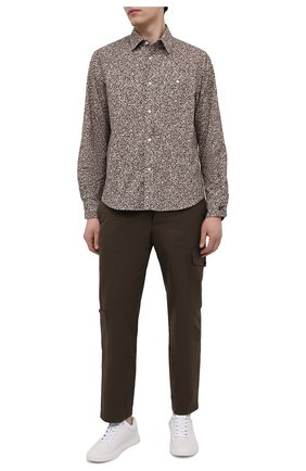 Мужская хлопковая рубашка KENZO бежевого цвета, арт. FB55CH4019LS | Фото 2