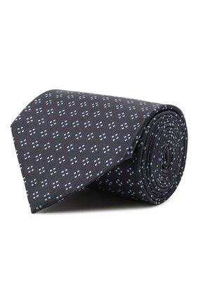 Мужской шелковый галстук BRIONI темно-синего цвета, арт. 062H00/P0436 | Фото 1 (Принт: С принтом; Материал: Текстиль, Шелк)