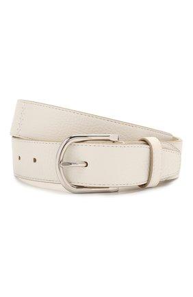 Мужской кожаный ремень BRIONI белого цвета, арт. 0BAN0L/09719 | Фото 1