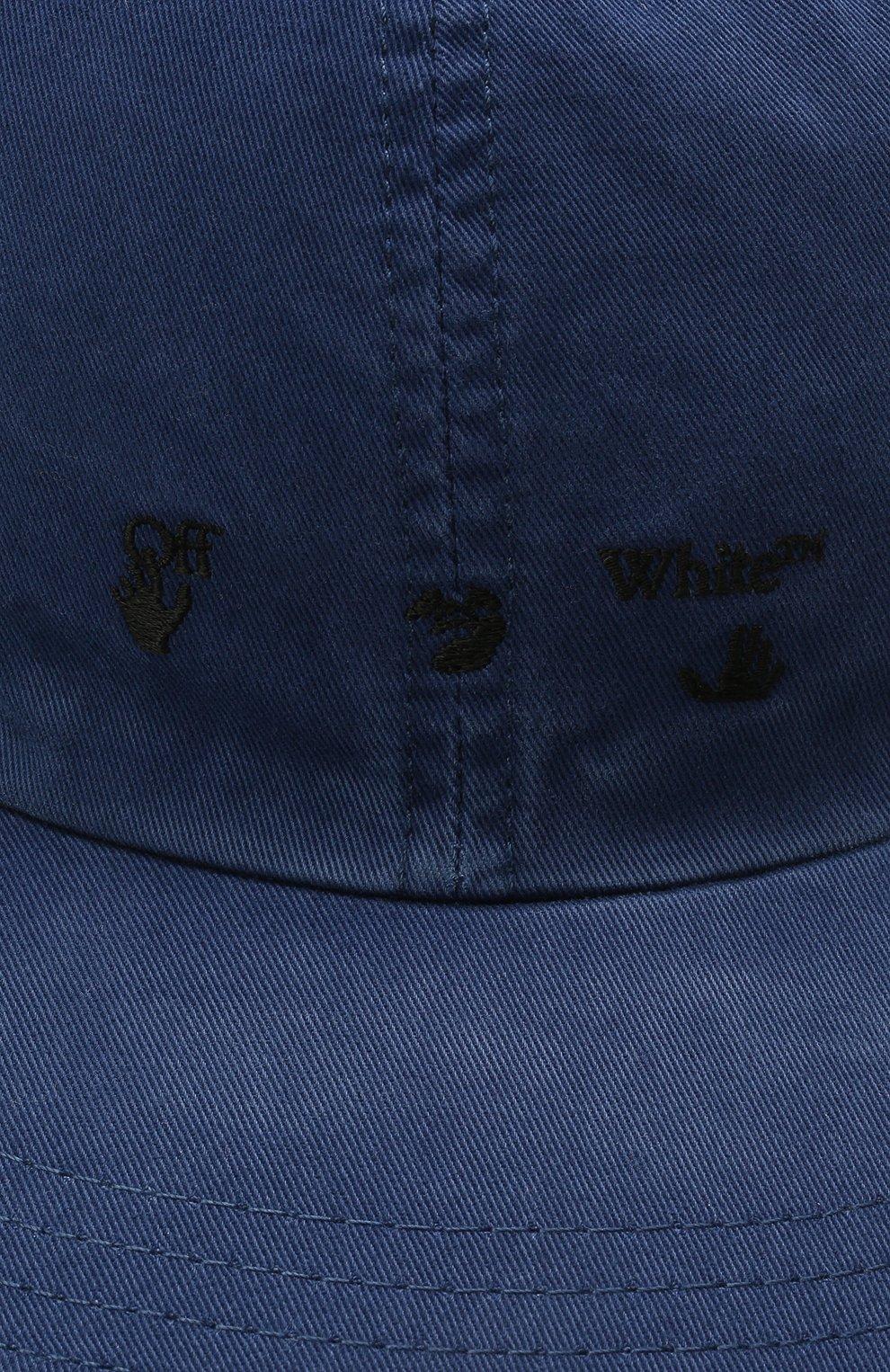 Мужской хлопковая бейсболка OFF-WHITE синего цвета, арт. 0MLB022S21FAB001 | Фото 3