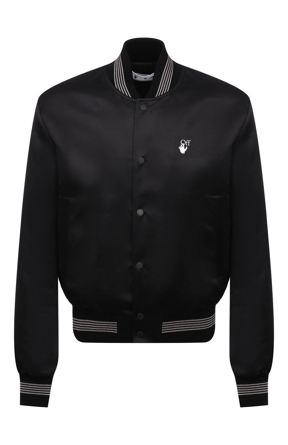 Мужской бомбер OFF-WHITE черного цвета, арт. 0MEA267S21FAB001 | Фото 1 (Кросс-КТ: Куртка; Рукава: Длинные; Материал внешний: Синтетический материал; Стили: Гранж; Принт: С принтом; Длина (верхняя одежда): Короткие; Материал подклада: Вискоза)