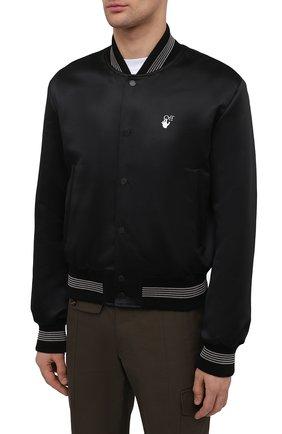 Мужской бомбер OFF-WHITE черного цвета, арт. 0MEA267S21FAB001 | Фото 3 (Кросс-КТ: Куртка; Рукава: Длинные; Материал внешний: Синтетический материал; Стили: Гранж; Принт: С принтом; Длина (верхняя одежда): Короткие; Материал подклада: Вискоза)