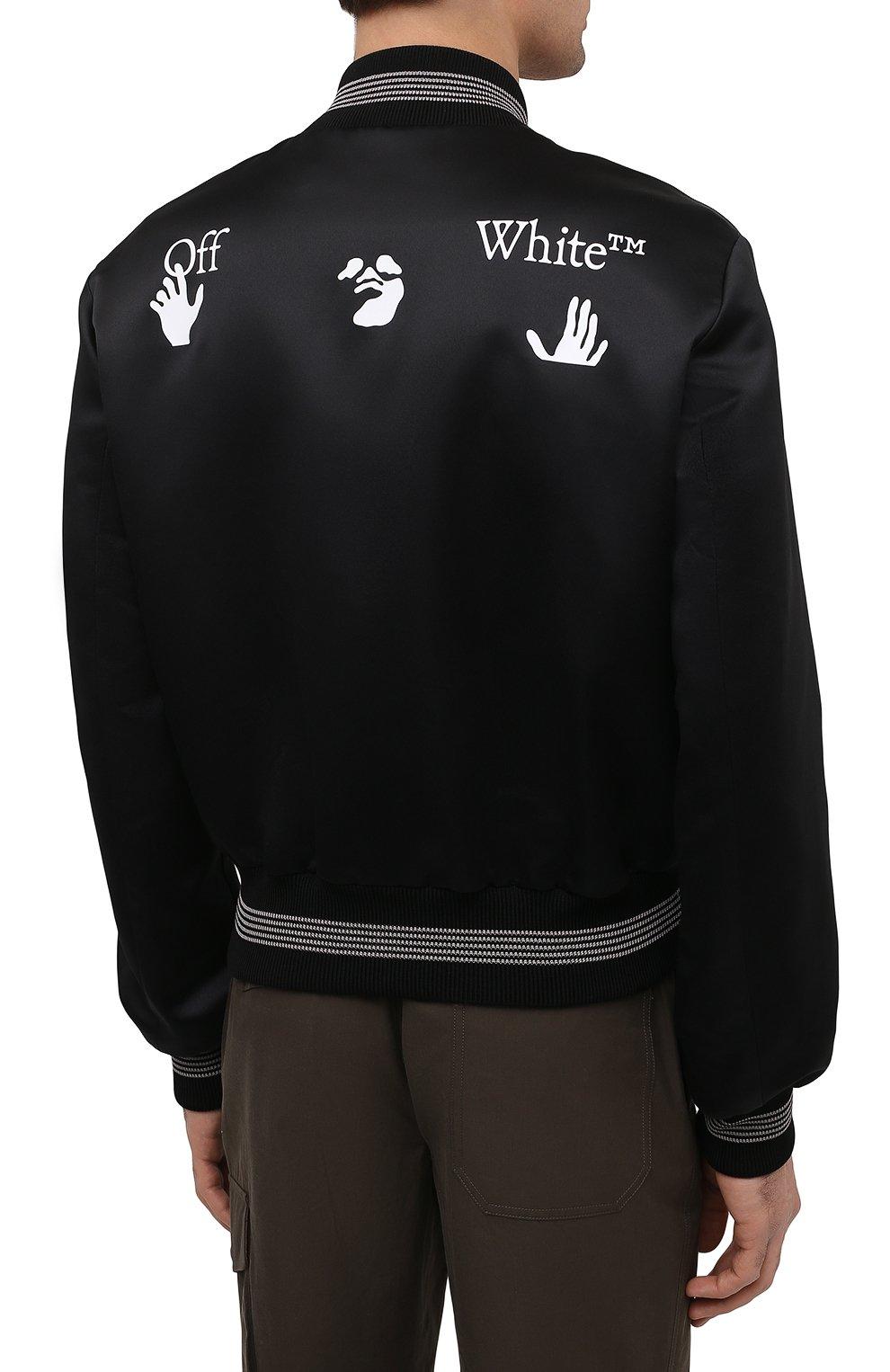 Мужской бомбер OFF-WHITE черного цвета, арт. 0MEA267S21FAB001 | Фото 4 (Кросс-КТ: Куртка; Рукава: Длинные; Материал внешний: Синтетический материал; Стили: Гранж; Принт: С принтом; Длина (верхняя одежда): Короткие; Материал подклада: Вискоза)