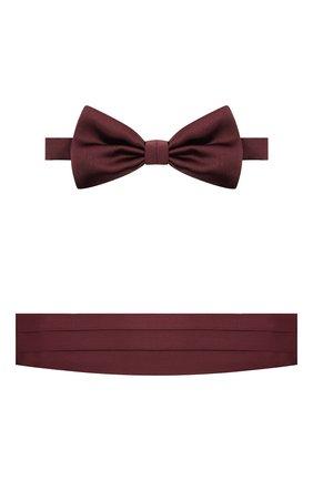 Мужской комплект из галстука-бабочки и камербанда CANALI бордового цвета, арт. 55/HJ01047 | Фото 1