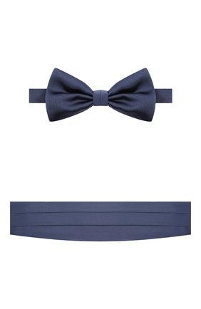 Мужской комплект из галстука-бабочки и камербанда CANALI темно-синего цвета, арт. 55/HJ01047 | Фото 1