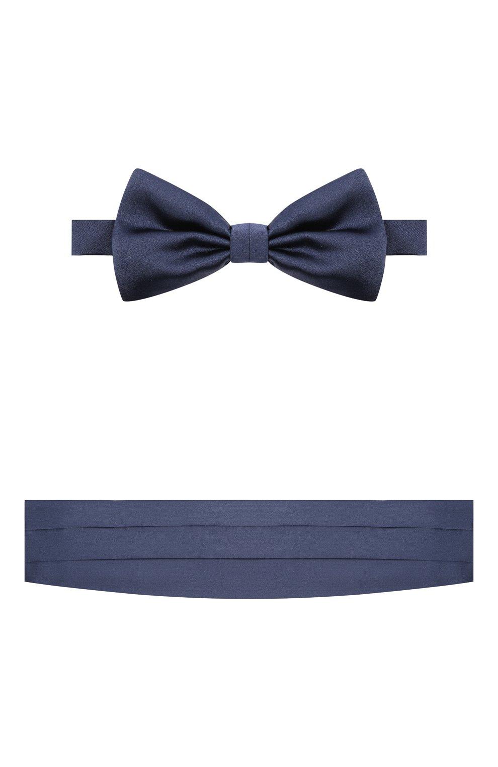 Мужской комплект из галстука-бабочки и камербанда CANALI темно-синего цвета, арт. 45/HJ01047 | Фото 1