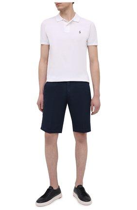 Мужские шорты из хлопка и льна PAUL&SHARK темно-синего цвета, арт. 21414041/FJD | Фото 2