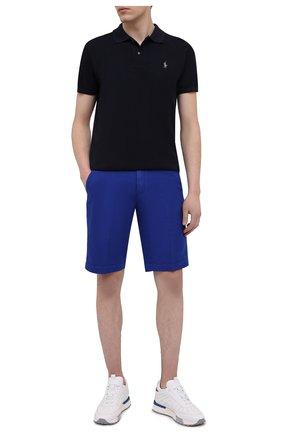 Мужские шорты из хлопка и льна PAUL&SHARK синего цвета, арт. 21414041/FJD | Фото 2
