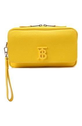 Мужская кожаная поясная сумка BURBERRY желтого цвета, арт. 8036754 | Фото 1