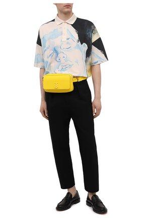 Мужская кожаная поясная сумка BURBERRY желтого цвета, арт. 8036754 | Фото 2