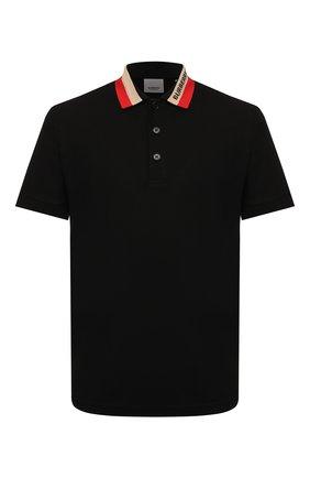 Мужское хлопковое поло BURBERRY черного цвета, арт. 8039265 | Фото 1