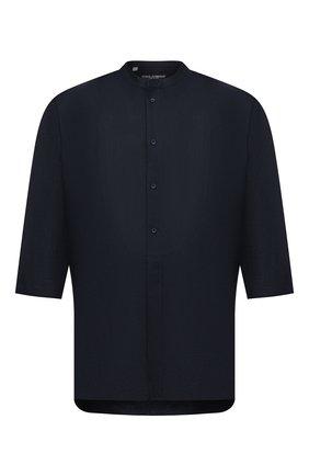 Мужская льняная рубашка DOLCE & GABBANA темно-синего цвета, арт. G5HR2T/FU4IK | Фото 1