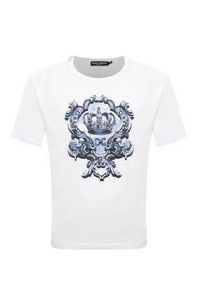 Мужская хлопковая футболка DOLCE & GABBANA белого цвета, арт. G8JX7T/FI76F | Фото 1