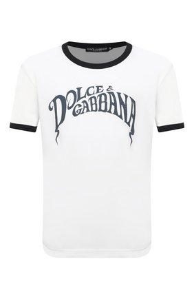 Мужская хлопковая футболка DOLCE & GABBANA белого цвета, арт. G8JX7T/FI7Z5 | Фото 1