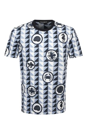 Мужская хлопковая футболка DOLCE & GABBANA синего цвета, арт. G8KBAT/HS7EG | Фото 1