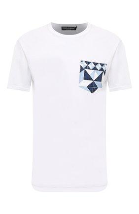 Мужская хлопковая футболка DOLCE & GABBANA белого цвета, арт. G8ML4T/FU7EQ | Фото 1