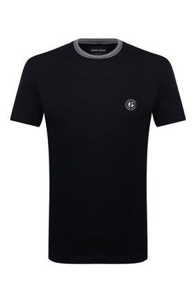 Мужская футболка из вискозы GIORGIO ARMANI темно-синего цвета, арт. 3KSM70/SJKLZ | Фото 1