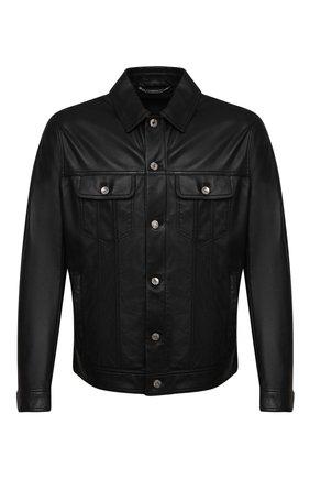Мужская кожаная куртка DOLCE & GABBANA черного цвета, арт. G9UP1L/HULLZ | Фото 1