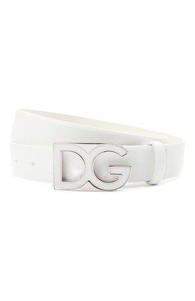 Мужской кожаный ремень DOLCE & GABBANA белого цвета, арт. BC4462/AV237 | Фото 1