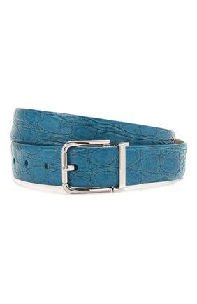 Мужской ремень из кожи каймана DOLCE & GABBANA синего цвета, арт. BC4216/A2110/CYAC | Фото 1