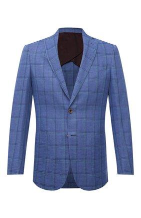 Мужской пиджак изо льна и шерсти LUCIANO BARBERA синего цвета, арт. 111A25/15087 | Фото 1