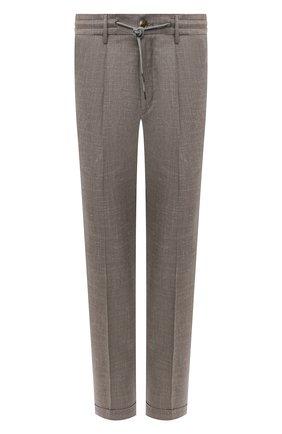 Мужские брюки из шерсти и льна LUCIANO BARBERA светло-бежевого цвета, арт. 114611/45022 | Фото 1
