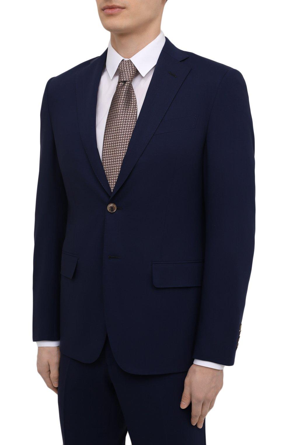 Мужской шерстяной костюм LUCIANO BARBERA темно-синего цвета, арт. 5M2014/25044   Фото 2 (Материал внешний: Шерсть; Рукава: Длинные; Костюмы М: Однобортный; Стили: Классический; Материал подклада: Купро)