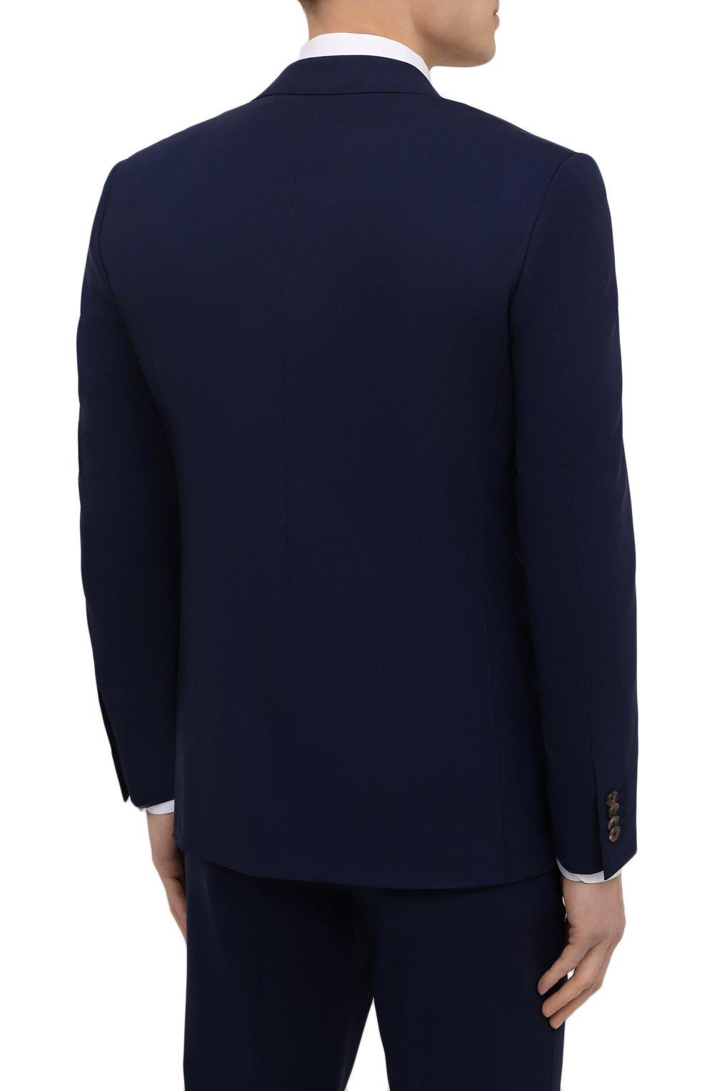 Мужской шерстяной костюм LUCIANO BARBERA темно-синего цвета, арт. 5M2014/25044   Фото 3 (Материал внешний: Шерсть; Рукава: Длинные; Костюмы М: Однобортный; Стили: Классический; Материал подклада: Купро)