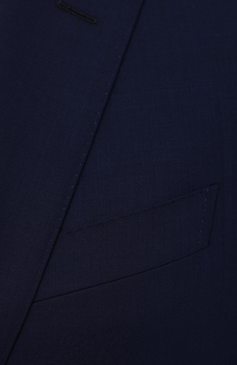 Мужской шерстяной костюм LUCIANO BARBERA темно-синего цвета, арт. 5M2014/25044   Фото 6 (Материал внешний: Шерсть; Рукава: Длинные; Костюмы М: Однобортный; Стили: Классический; Материал подклада: Купро)